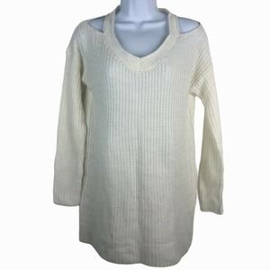 Thyme & Honey Cold Shoulder Tunic Pullover Sweater